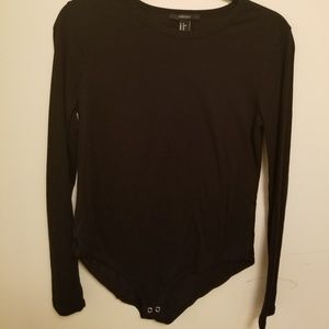 Long sleeve body suit in black